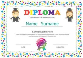 Kids School Diploma with Colorful Triangle Frame vector