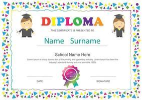 Diploma escolar para niños con marco de triángulo colorido