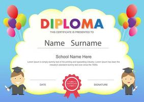 Preschool Kids Diploma with Balloons vector