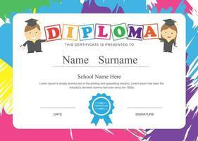 Diploma escolar para niños con marco de trazo de pincel