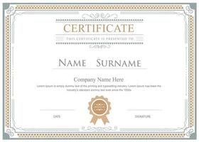 Gold and Gray Ornamental Frame Certificate Template