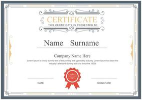 Ornamental Certificate Template with Vintage Frame