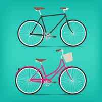 Retro Black and Pink Bicycle Set vector