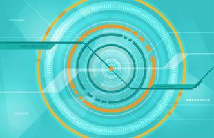 Light Blue and Orange Tech Circle Design