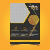 modelo de relatório anual com design de hexágono