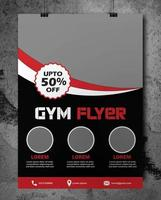 Gym Flyer in Red and Black with Curved Border vector