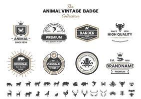 Vintage Badge Set with Dolphin and Other Animals