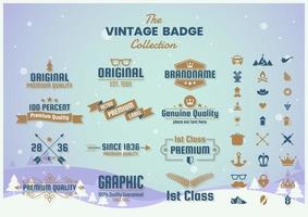 insignia vintage con gafas y otros íconos vector