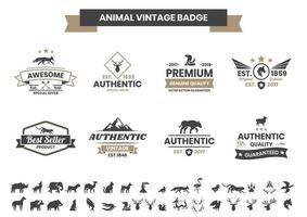 Vintage Badge Set with Dolphin and Other Animals vector