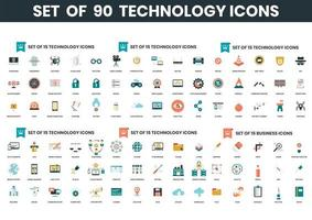Set of 90 Technology Icons