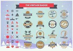 conjunto de insignias de verano vintage
