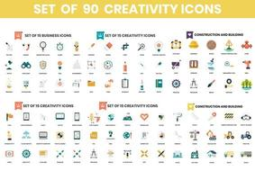 Set of 90 Creativity and Construction Icons