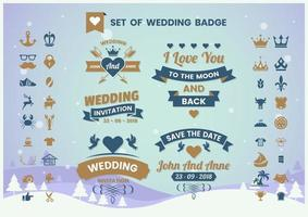 Vintage Wedding Badge Set vector