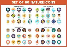 Set of 60 Nature and Animal Icons vector