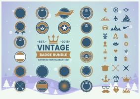 conjunto de crachá ou selo em branco vintage vetor