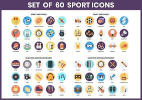 Set of 60 Sports, Fitness and Music Icons