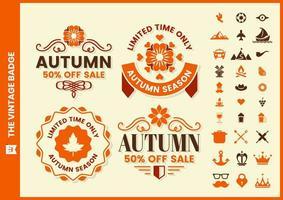 Retro Herbstverkauf Abzeichen mit Blumenmotiv gesetzt