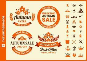 retro herfst verkoop ronde badge set