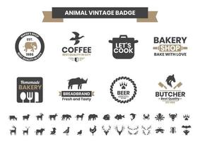 Vintage Badge Set with Elephant and Other Animals vector