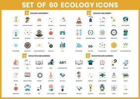 Set of 60 Ecology and Education Icons vector