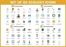 Set mit 60 Ökologie- und Bildungsikonen vektor