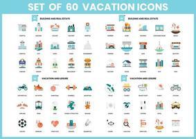 Set mit 60 Gebäude- und Immobiliensymbolen vektor