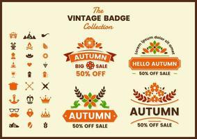 Retro Autumn Sale Badge Set