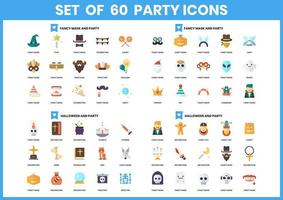 Set mit 60 Halloween- und Party-Ikonen vektor