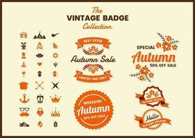 Retro Herbstverkauf Abzeichen mit Bannern gesetzt