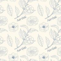 Camellia Sinensis Vintage Seamless Pattern
