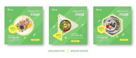 menu de comida verde conjunto de banner de mídia social