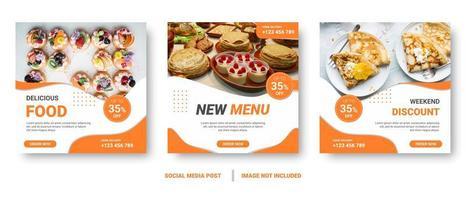 postos de mídia social do quadrado laranja e branco