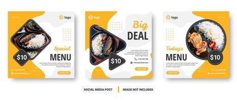 banners de menu de comida de mídia social amarelo e branco