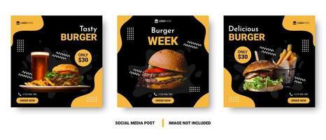 banner de mídia social de menu de comida