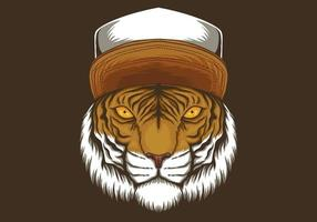 tigre, porter, chapeau, illustration