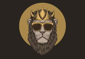 Lion Wearing Crown Illustration vector