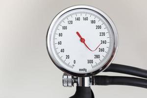 Blood pressure gauge with bent indicator needle photo