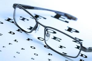 Eyeglasses on top of eye chart photo