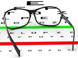 Near vision test card with glasses illustration.