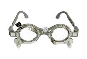 Optometrist trial frame on white background