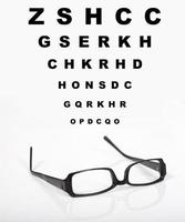 Eye glasses and test chart photo
