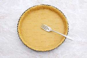 Fork rests in a pricked pastry pie crust photo