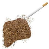 Cigarette and tobacco shaped as Rwanda (series) photo