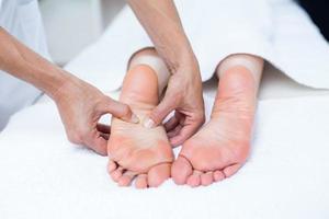 Physiotherapist doing foot massage photo