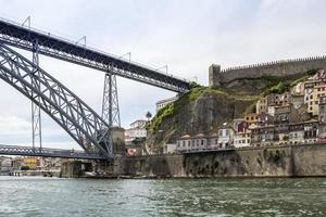 View of old downtown and Dom Luiz Bridge, Porto cityscape