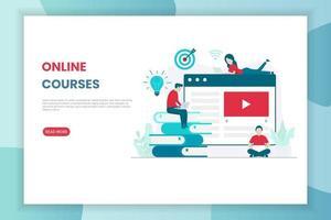 page de destination des cours en ligne de conception plate