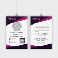 Employee ID Card in Purple and Pink Angled Design