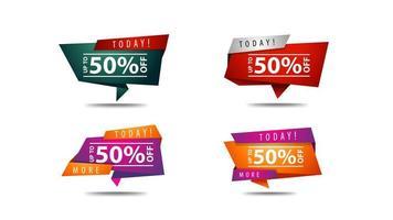 conjunto de banners geométricos de descuento en colores brillantes vector