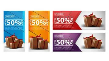 Set of vertical and horizontal discount banners with present boxes