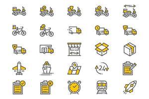 iconos de entrega y envío vector